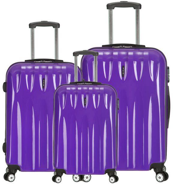 Sada cestovních kufrů ICE T-1063/3 PC - fialová