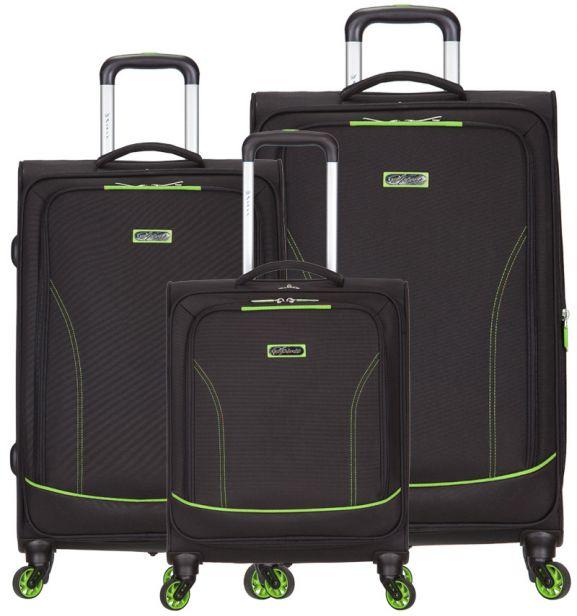 Sada cestovních kufrů SPIRIT T-1115/3 - černá/zelená