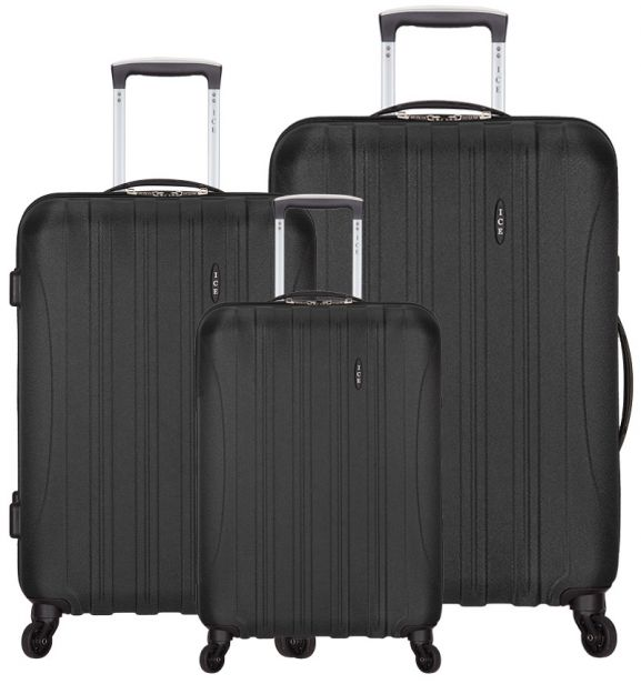 Sada cestovních kufrů ICE T-1109/3 ABS - černá