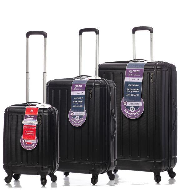 Sada cestovních kufrů CITIES T-105/3 ABS - černá