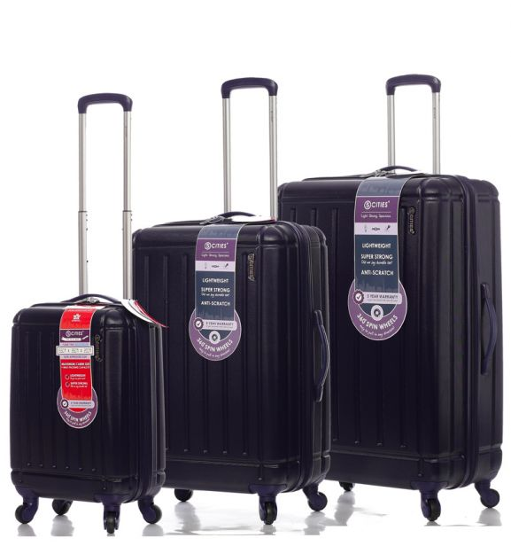 Sada cestovních kufrů CITIES T-105/3 ABS - tmavě modrá